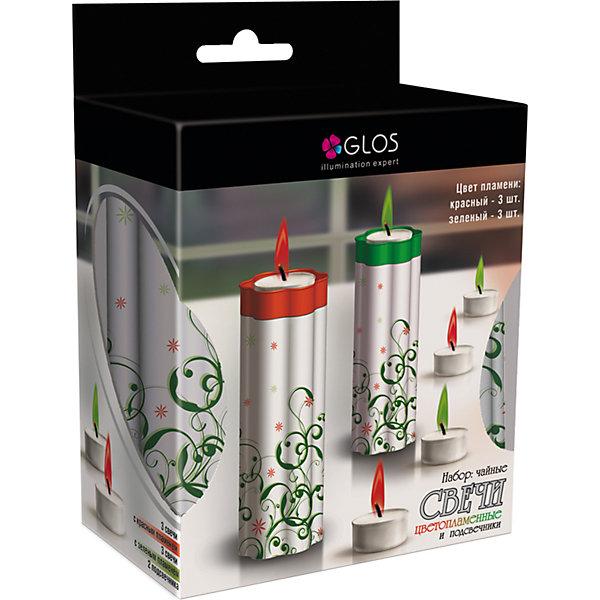 GLOS Набор чайных GLOS с подсвечником 6 с цветным пламенем, 2 подсвечника (красные, зеленые)