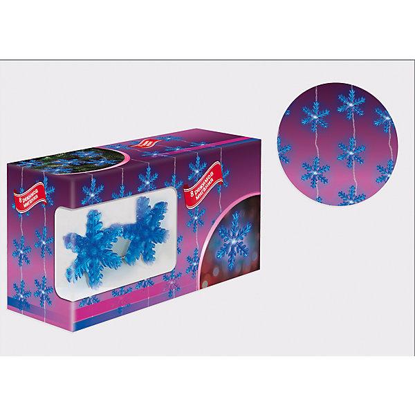 Новогодняя электрогирлянда с насадками B&amp;H Снежинки, 20 синих светодиодов, 2 мНовогодние электрогирлянды<br>Характеристики товара:<br><br>• возраст: от 3 лет;<br>• упаковка: картонная коробка;<br>• вес: 340 гр.;<br>• тип ламп: светодиоды;<br>• количество ламп: 20 шт.;<br>• цвет свечения: синий;<br>• длина электрогирлянды: 2 м;<br>• размер упаковки: 8,5x12,5x24 см;<br>• материал: пластик;<br>• бренд, страна бренда: B&amp;H;<br>• страна-производитель: Китай.<br><br>Электрогирлянда с насадками «Снежинки» представляет собой гибкий провод длиной 2 м, на котором расположены насадки в форме снежинок со светодиодами внутри (20 ярких синих снежинок). Не являются соединяемыми. Используются внутри помещений.<br><br>Гирлянда светодиодная - яркая и долговечная, имеет маленькое энергопотребление, позволяет создавать яркое и привлекающее внимание оформление витрин, помещений, елей, деревьев и других объектов. <br><br>Электрогирлянда торговой марки B&amp;H позволит создать атмосферу праздника в вашем доме, а также подарит отличное настроение вашим друзьям и близким.<br><br>Электрогирлянду с насадками «Снежинки», 2 м., 20 синих светодиодов, B&amp;H можно купить в нашем интернет-магазине.<br>Ширина мм: 240; Глубина мм: 125; Высота мм: 85; Вес г: 340; Возраст от месяцев: 36; Возраст до месяцев: 2147483647; Пол: Унисекс; Возраст: Детский; SKU: 7230528;