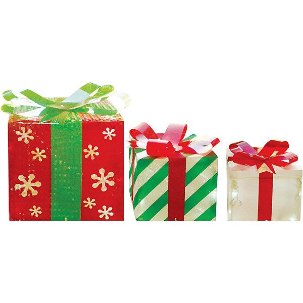 Светодиодная фигурка B&amp;H Подарки, 60 LEDНовогодние световые фигуры<br>Характеристики товара:<br><br>• возраст: от 3 лет;<br>• упаковка: картонная коробка;<br>• размер упаковки: 25х25х24 см.;<br>• вес: 800 гр.;<br>• размер каждого изделия: 20х20х20 см.; 14х14х14 см.; 12х12х12 см.;<br>• тип лампочек: светодиоды;<br>• количество лампочек: 60;<br>• цвет свечения: холодный белый;<br>• состав: пластик, металл;<br>• бренд, страна изготовления: B&amp;H, Китай.<br><br>Светодиодное украшение «Подарки» от торговой марки B&amp;H - оригинальное украшение представляет собой набор из трех подарочных упаковок разного рамера и цвета и светодиодами холодного белого цвета внутри. Яркие светодиодные элементы станут отличным украшением  вашего дома. <br><br>Украшение изготовлено из пластика высокого качества. Тип питания - от сети, длина сетевого шнура - 1,5 м. Применяется для украшения помещений, окон, витрин и других объектов, используется внутри помещений. <br><br>Светодиодное украшение «Подарки» подарит уют и новогоднюю атмосферу вашему дому и станет прекрасным элементом декора. Отлично подойдет в качестве хорошего сувенира для друзей и близких.<br><br>Светодиодное украшение «Подарки», 60 светодиодов, B&amp;H  можно купить в нашем интернет-магазине.<br>Ширина мм: 242; Глубина мм: 250; Высота мм: 250; Вес г: 800; Возраст от месяцев: 36; Возраст до месяцев: 2147483647; Пол: Унисекс; Возраст: Детский; SKU: 7230547;