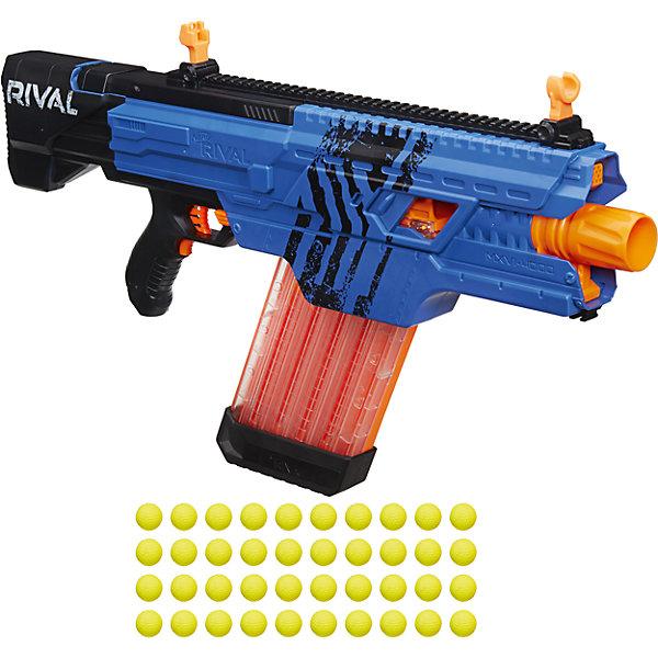 Бластер Nerf Райвал Хаос, синийИгрушечные пистолеты и бластеры<br>Характеристики:<br><br>• возраст: от 14 лет;<br>• материал: пластик;<br>• в наборе: бластер, магазин, 40 зарядов;<br>• тип батареек: 6хD;<br>• наличие батареек: не в комплекте;<br>• вес упаковки: 5,6 кг.;<br>• размер упаковки: 37х16х77 см;<br>• страна бренда: США.<br><br>Бластер Nerf «Райвал Хаос» от Hasbro выводит нёрфера на новый игровой уровень. Бластер полностью автоматический, имеет предельную точность, а скорость выстрела достигает 30 метров в секунду. Все 40 зарядов в форме шариков помещаются в магазин за один раз. Яркие желтые шарики легко найти после выстрела.<br><br>Игрушка имеет оригинальный дизайн, выполнена в синем цвете. Несколько бластеров «Райвал Хаос» в одном цвете выделят команду игроков среди их соперников. Сделано из качественных прочных материалов.<br><br>Бластер «Нёрф Райвал Хаос» можно купить в нашем интернет-магазине.<br>Ширина мм: 79; Глубина мм: 762; Высота мм: 356; Вес г: 2819; Возраст от месяцев: 84; Возраст до месяцев: 2147483647; Пол: Мужской; Возраст: Детский; SKU: 7230779;