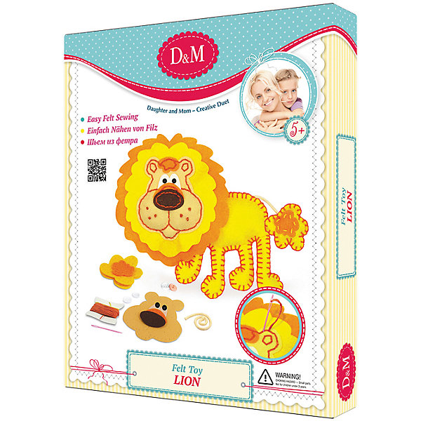 Делай с Мамой Набор шьем игрушкуЛЕВкоробка делай с мамой лисы для создания объемной картины