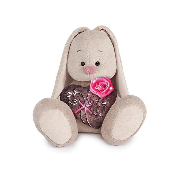 Зайка Ми с коричневым сердечком с розочкой (малый)Мягкие игрушки зайцы и кролики<br>Характеристики товара:<br><br>• возраст: от 3 лет;<br>• материал: текстиль, искусственный мех;<br>• высота игрушки: 18 см;<br>• размер упаковки: 24х14х15 см;<br>• вес упаковки: 270 гр.;<br>• страна производитель: Россия.<br><br>Мягкая игрушка «Зайка Ми с коричневым сердечком с розочкой» Budi Basa — очаровательный пушистый зайчонок с длинными ушками. В лапках зайка держит мягкое коричневое сердечко с вышивкой и атласным цветком. Игрушка выполнена из качественного безопасного материала, настолько приятного и мягкого, что ребенок будет брать с собой зайку в кроватку и спать в обнимку.<br><br>Мягкую игрушку «Зайка Ми с коричневым сердечком с розочкой» Budi Basa можно приобрести в нашем интернет-магазине.<br>Ширина мм: 151; Глубина мм: 140; Высота мм: 150; Вес г: 270; Возраст от месяцев: 36; Возраст до месяцев: 168; Пол: Унисекс; Возраст: Детский; SKU: 7231258;