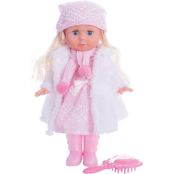 Кукла  30 см, озвученная,руссифицированная, закрывывает глазки, с набором одежды.Интерактивные куклы<br>Характеристики товара:<br><br>• в комплекте: кукла, аксессуары;<br>• высота куклы: 30 см;<br>• возраст: от 3 лет;<br>• батарейки: LR44 - 3 шт. (входят в комплект);<br>• материал: пластик, текстиль, металл;<br>• размер упаковки: 32х27х9 см;<br>• страна бренда: Россия.<br><br>Кукла Полина - невероятно милая и красивая малышка. Она имеет роскошные светлые волосы и выразительные глазки. Кукла одета в вязаное платье розового цвета, вязаную шапочку и сапожки в тон. В комплект входят расческа и белая шубка, которая согреет Полину во время зимней прогулки.<br><br>Если девочка уложит куколку спать, Полина очень реалистично закроет свои глазки. Кукла умеет говорить и петь: в ее репертуар входят несколько стихов и песен Агнии Барто. Руки и ноги куклы подвижны. Девочка сможет придать Полине нужную позу, уложить волосы и послушать стихи и песенки.<br><br>Куклу  30см, озвученную,  русифицированную, закрывает глазки, с набором одежды, Карапуз можно купить в нашем интернет-магазине.<br>Ширина мм: 150; Глубина мм: 80; Высота мм: 300; Вес г: 540; Возраст от месяцев: 36; Возраст до месяцев: 84; Пол: Унисекс; Возраст: Детский; SKU: 7233170;