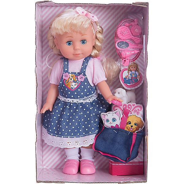 Кукла  30 см, озвученная,руссифицированная, закрывывает глазки, с набором одежды,с питомцем.Интерактивные куклы<br>Характеристики товара:<br><br>• в комплекте: кукла, аксессуары;<br>• высота куклы: 30 см;<br>• возраст: от 3 лет;<br>• батарейки: LR44 - 2 шт. (входят в комплект);<br>• материал: пластик, текстиль;<br>• размер упаковки: 31х21х11 см;<br>• страна бренда: Россия.<br><br>С прекрасной куклой Полиной девочка никогда не заскучает. Если нажать кукле на живот, она споет пять веселых песенок В. Шаинского. Кроме того, Полина очень реалистично закрывает глаза, а ее руки и ноги подвижны для придания нужной позы. В комплект входят сумочка, щенок и аксессуары для ухода за куклой. Полина одета в джинсовый сарафан, розовую футболочку и сиреневые туфельки. Волосы куклы заплетены в два хвостика.<br><br>Куклу  30см, озвученную,  русифицированную, закрывает глазки, с набором одежды, Карапуз можно купить в нашем интернет-магазине.<br>Ширина мм: 90; Глубина мм: 50; Высота мм: 300; Вес г: 520; Возраст от месяцев: 36; Возраст до месяцев: 84; Пол: Женский; Возраст: Детский; SKU: 7233171;