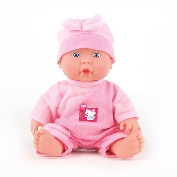 Пупс  HELLO KITTY 24 см, с твердым телом , с одеждой, озвученная.Куклы<br>Характеристики товара:<br><br>• высота куклы: 24 см;<br>• возраст: от 3 лет;<br>• материал: пластик, текстиль;<br>• батарейки в комплекте;<br>• страна бренда: Россия.<br><br>Милый и забавный пупс от торговой марки Карапуз подарит девочке возможность почувствовать себя настоящей мамой, заботящейся о малыше. Для большей реалистичности ножки и ручки пупса можно двигать. При нажатии на животик пупс издает реалистичные звуки, весело смеется и лепечет, капризничает и плачет. Пупс одет в розовый комбинезон и розовую шапочку. Комбинезон пупса украшен значком Hello Kitty.<br><br>Пупса «Hello Kitty» (Хелло Китти) 24 см, с твердым телом , с одеждой, озвученную, Карапуз можно купить в нашем интернет-магазине.<br>Ширина мм: 100; Глубина мм: 50; Высота мм: 240; Вес г: 400; Возраст от месяцев: 36; Возраст до месяцев: 84; Пол: Унисекс; Возраст: Детский; SKU: 7233180;