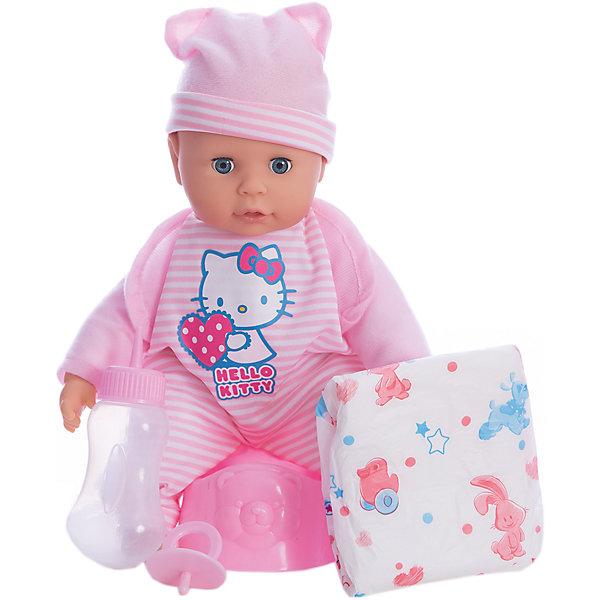 Пупс HELLO KITTY 35 см, мягкое тело, 30 звуков, пьет и писает.Куклы<br>Характеристики товара:<br><br>• в комплекте: кукла, горшок, бутылочка, подгузник;<br>• высота куклы: 35 см;<br>• возраст: от 3 лет;<br>• материал: пластик, текстиль;<br>• батарейки: LR41 - 3 шт. (в комплекте);<br>• размер упаковки: 12х26х33 см;<br>• страна бренда: Россия.<br><br>Очаровательный пупс из коллекции Hello Kitty - отличная возможность научить девочку заботиться о младших. Кукла очень похожа на настоящего малыша, его ручки, ножки и пухленькие щечки очень похожи на настоящие. Если нажать на животик, пупс будет издавать забавные звуки, лепетать и смеяться. Кукла умеет пить и писать. В комплект входят бутылочка, горшок и сменный подгузник. Если уложить малыша спать, то он очень реалистично закроет глазки. Девочка сможет покормить малыша, усадить его на горшок и сменить подгузник. Пупс одет в розовый костюмчик с изображением котенка Hello Kitty и розовую шапочку.<br><br>Пупса «Hello Kitty» (Хелло Китти) 35 см, мягкое тело, 30 звуков, пьет и писает, Карапуз можно купить в нашем интернет-магазине.<br>Ширина мм: 150; Глубина мм: 60; Высота мм: 350; Вес г: 750; Возраст от месяцев: 36; Возраст до месяцев: 84; Пол: Унисекс; Возраст: Детский; SKU: 7233184;