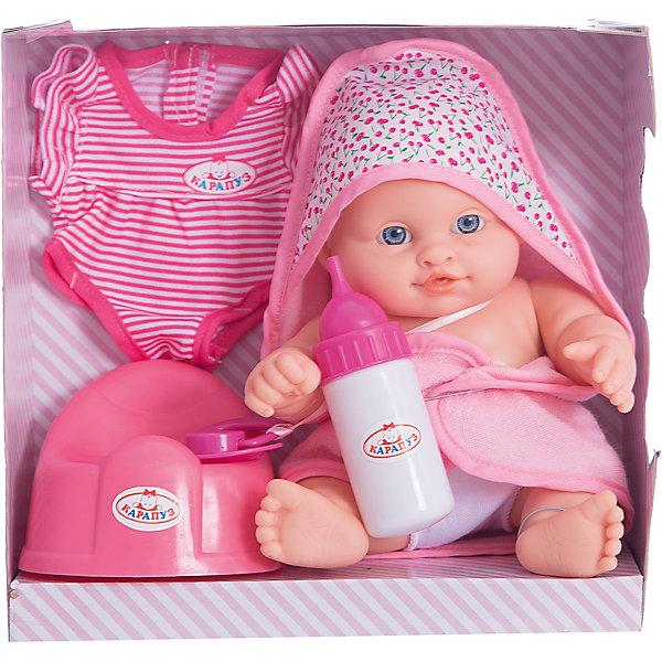 Пупс  23 см,3 функции , пьет , писает, с аксессуарами.Интерактивные куклы<br>Характеристики товара:<br><br>• в комплекте: кукла, бутылочка, соска, одежда;<br>• высота куклы: 35 см;<br>• возраст: от 3 лет;<br>• материал: пластик, текстиль;<br>• размер упаковки: 23х10х21,5 см;<br>• страна бренда: Россия.<br><br>Маленький интерактивный пупс «Карапуз» станет прекрасным подарком для маленькой «мамочки». Играя с куклой, девочка научится быть заботливой и ответственной. Пупс имеет три интересные функции: пьет, писает, закрывает глазки. Чтобы пупс пописал, необходимо напоить его из бутылочки, входящей в комплект. В набор входят другие необходимые предметы: соска и комплект сменной одежды. Девочка сможет искупаться вместе с пупсом, завернуть его в красивое полотенце с ушками, одеть в красивую одежду, а затем дать крохе соску и убаюкать. Пупс одет в красивое полотенце, выполненное в белом и розовом цветах. Голова, ноги и руки куклы подвижны.<br><br>Пупса 23 см,3 функции , пьет , писает, с аксессуарами, Карапуз можно купить в нашем интернет-магазине.<br>Ширина мм: 130; Глубина мм: 80; Высота мм: 350; Вес г: 490; Возраст от месяцев: 36; Возраст до месяцев: 84; Пол: Женский; Возраст: Детский; SKU: 7233198;