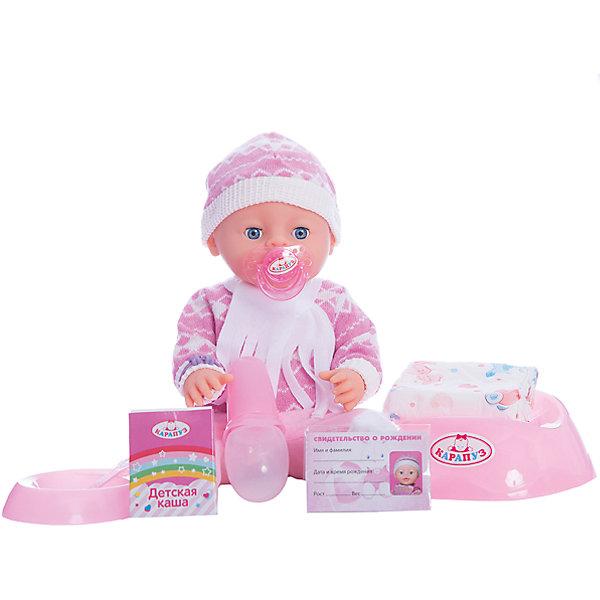 Пупс  40 см, 3 функции, пьет, писает, с дополнительной одеждой и аксессуарами.Интерактивные куклы<br>Характеристики товара:<br><br>• в комплекте: кукла, одежда, горшок, бутылочка, соска, свидетельство о рождении;<br>• высота куклы: 40 см;<br>• возраст: от 3 лет;<br>• батарейки в комплекте;<br>• размер упаковки: 14х29х40 см;<br>• материал: пластик, текстиль;<br>• страна бренда: Россия.<br><br>Интерактивная кукла от торговой марки Карапуз порадует девочку своей реалистичностью. Пупс выглядит совсем как настоящий малыш и даже умеет пить и писать. В комплект входят дополнительные аксессуары: бутылочка, горшок, соска, комплект одежды, свидетельство. Девочка сможет переодеть карапуза после прогулки, напоить его из бутылочки и посадить на горшок. Если дать малышу соску, он сладко заснет. В свидетельство о рождении девочка сможет вписать имя, которое придумает для своего малыша. Пупс одет в костюмчик с теплым шарфом и шапочкой. <br><br>Пупса  40 см, 3 функции, пьет, писает, с дополнительной одеждой и аксессуарами, Карапуз можно купить в нашем интернет-магазине.<br>Ширина мм: 170; Глубина мм: 100; Высота мм: 400; Вес г: 1420; Возраст от месяцев: 36; Возраст до месяцев: 84; Пол: Женский; Возраст: Детский; SKU: 7233207;