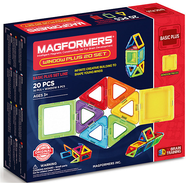 MAGFORMERS Магнитный конструктор в комплекте нолик 715001 Window Plus Set 20 set, MAGFORMERS
