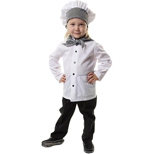ПоваренокКарнавальные костюмы для мальчиков<br>Шапочка, куртка, косынка; состав: <br>Тиси (75% полиэстер, 35% хлопок)<br>Ширина мм: 450; Глубина мм: 80; Высота мм: 350; Вес г: 250; Возраст от месяцев: 60; Возраст до месяцев: 72; Пол: Унисекс; Возраст: Детский; Размер: 116,104; SKU: 7234534;