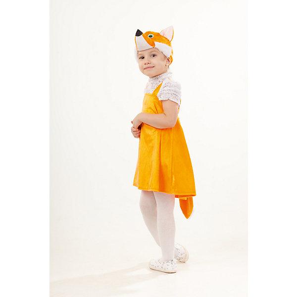 Костюм Лиса ИрискаКарнавальные костюмы для девочек<br>Верх 100% полиэстер; подклад: 35% хлопок+65%полиэстер Карнавальный костюм Лиса Ириска выполненом из плюша оранжевого цвета. В комплект входит сарафан и маска в виде объемной мордочки  лисы с  ушками. Застегивается сарафан сзади на пуговицы.<br>Ширина мм: 450; Глубина мм: 80; Высота мм: 350; Вес г: 250; Возраст от месяцев: 48; Возраст до месяцев: 60; Пол: Женский; Возраст: Детский; Размер: 110; SKU: 7238700;