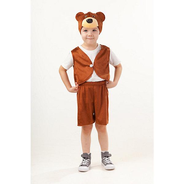 Костюм Медведь ПотапикКарнавальные костюмы для мальчиков<br>Верх 100% полиэстер; подклад: 35% хлопок+65%полиэстер Карнавальный костюм для мальчиков Медведь Потапик выполнен из мягкого плюша коричневого цвета. В комплект входит жилетка с пуговицей, шорты на резинке. Завершает образ Медведя Потапика маска-шапка в виде объемной мордочки и объемными ушками.<br>Ширина мм: 450; Глубина мм: 80; Высота мм: 350; Вес г: 250; Возраст от месяцев: 48; Возраст до месяцев: 60; Пол: Мужской; Возраст: Детский; Размер: 110; SKU: 7238706;