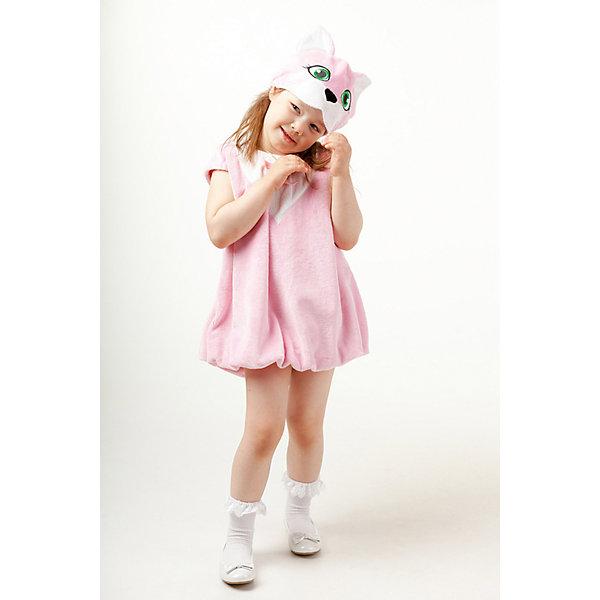 904 к-17 Костюм КошечкаКарнавальные костюмы для девочек<br>Верх 100% полиэстер; подклад: 35% хлопок+65%полиэстер Карнавальный костюм Кошечки состоит из плюшевого платья и маски. Розовое платье с застежкой молнией на спине. Маска-шапка с изображением мордочки Кошки с милыми ушками.<br>Ширина мм: 450; Глубина мм: 80; Высота мм: 350; Вес г: 250; Возраст от месяцев: 36; Возраст до месяцев: 48; Пол: Женский; Возраст: Детский; Размер: 104; SKU: 7238718;