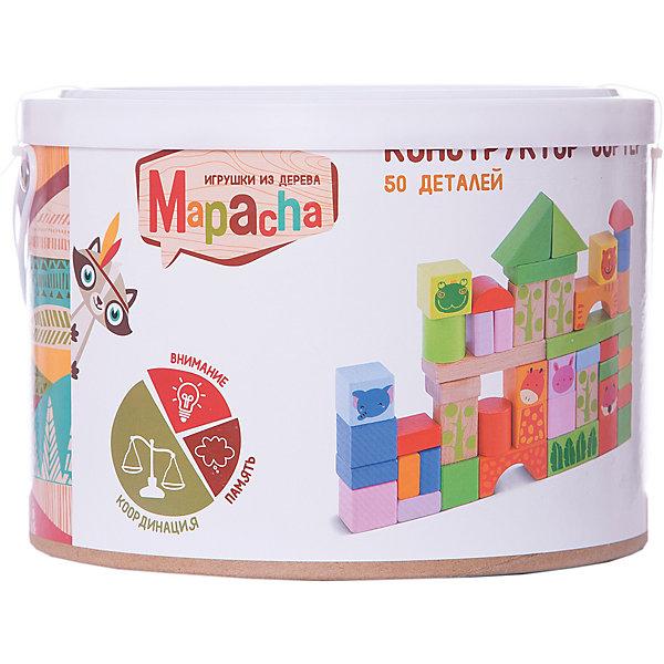 Mapacha Деревянный конструктор Mapacha, 50 деталей (в ведре) конструктор mapacha конструктор сортер 50 элементов 76735