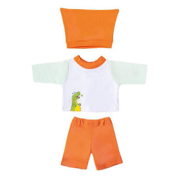 Одежда для куклы Mary Poppins Дино кофточка брючки и шапочка, 38-43 см (бело-оранжевый)Одежда для кукол<br>Характеристики:<br><br>• возраст: от 3 лет<br>• в комплекте: кофточка, брючки, шапочка, пластиковая вешалка<br>• высота куклы: 38-43 см.<br>• материал: текстиль<br>• упаковка: чехол<br><br>Комплект одежды станет отличным дополнением к гардеробу любой куклы высотой от 38 до 43 см. Одежда отличается реалистичным дизайном и продуманным кроем.<br><br>В наборе девочки найдут оранжевые брючки, шапочку такого же цвета, а также белую кофточку с рукавами. На кофте изображен веселый динозавр.<br><br>Одежда для куклы сшита из мягкой, приятной на ощупь, плотной гипоаллергенной ткани. Швы на изделиях выполнены очень качественно и аккуратно. Яркие цвета одежды останутся такими же даже после стирки, так как ткань окрашена стойкими красителями.<br><br>Комплект одежды упакован в прозрачный чехол на застежках, а вешалка поможет малышкам удобно хранить набор в шкафу.<br><br>Одежду для куклы 38-43см,  кофточку, брючки и шапочку Дино можно купить в нашем интернет-магазине.