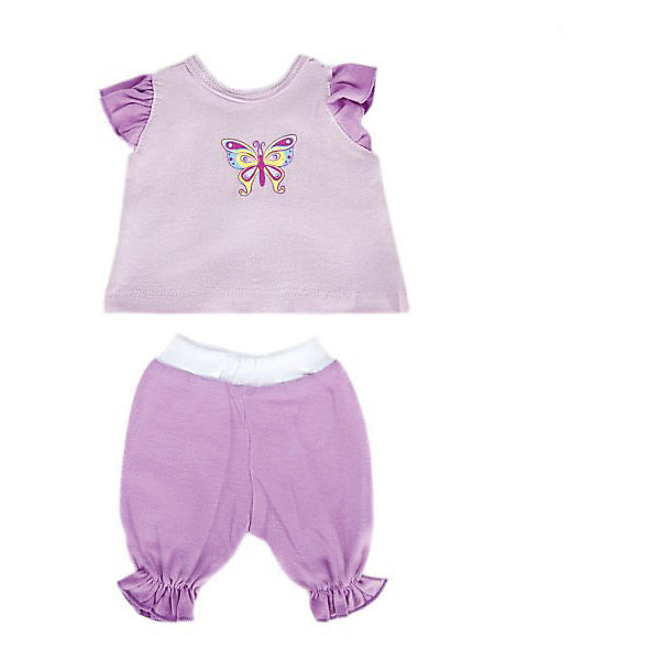 Одежда для куклы Mary Poppins Бабочка кофточка и брючки, 38-43 см (сиреневый)Одежда для кукол<br>Характеристики:<br><br>• возраст: от 3 лет<br>• в комплекте: кофточка, брючки, пластиковая вешалка<br>• высота куклы: 38-43 см.<br>• материал: текстиль<br>• упаковка: чехол<br>• уход: стирка в стиральной машине при температуре 30 ?С<br><br>Комплект одежды станет отличным дополнением к гардеробу любой куклы высотой от 38 до 43 см. Одежда отличается реалистичным дизайном и продуманным кроем, она полностью имитирует одежду для малышей.<br><br>В наборе девочки найдут кофточку и брючки, выполненных в приятном сочетании розового и фиолетового цветов. Кофточка украшена красивым принтом в виде блестящей бабочки.<br><br>Одежда для куклы сшита из мягкой, приятной на ощупь ткани. Швы на изделиях выполнены очень качественно и аккуратно. Цвета одежды останутся такими же даже после стирки, так как ткань окрашена стойкими красителями.<br><br>Комплект одежды упакован в прозрачный чехол на застежках, а вешалка поможет малышкам удобно хранить набор в шкафу.<br><br>Одежду для куклы 38-43см, кофточку и брючки Бабочка можно купить в нашем интернет-магазине.