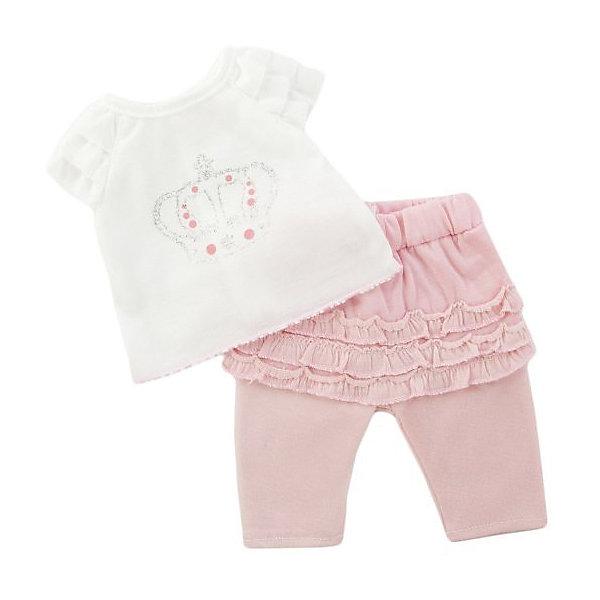 Одеждя для куклы Mary Poppins Футболка и штанишки, 38-43 см (розовый)Одежда для кукол<br>Характеристики:<br><br>• возраст: от 3 лет<br>• в комплекте: футболка, штанишки, пластиковая вешалка<br>• высота куклы: 38-43 см.<br>• материал: текстиль<br>• упаковка: чехол<br>• уход: стирка в стиральной машине при температуре 30 ?С<br><br>Комплект одежды станет отличным дополнением к гардеробу любой куклы высотой от 38 до 43 см. Одежда отличается реалистичным дизайном и продуманным кроем.<br><br>В наборе девочки найдут белую футболку с короткими рукавами, украшенную короной, и яркие розовые штанишки с оборочками.<br><br>Одежда для куклы сшита из мягкой, приятной на ощупь, плотной ткани. Швы на изделиях выполнены очень качественно и аккуратно. Цвета одежды останутся такими же даже после стирки, так как ткань окрашена стойкими красителями.<br><br>Комплект одежды упакован в прозрачный чехол на застежках, а вешалка поможет малышкам удобно хранить набор в шкафу.<br><br>Одежду для куклы 38-43см, футболку и штанишки можно купить в нашем интернет-магазине.<br>Ширина мм: 225; Глубина мм: 5; Высота мм: 325; Вес г: 130; Возраст от месяцев: 36; Возраст до месяцев: 2147483647; Пол: Женский; Возраст: Детский; SKU: 7240548;