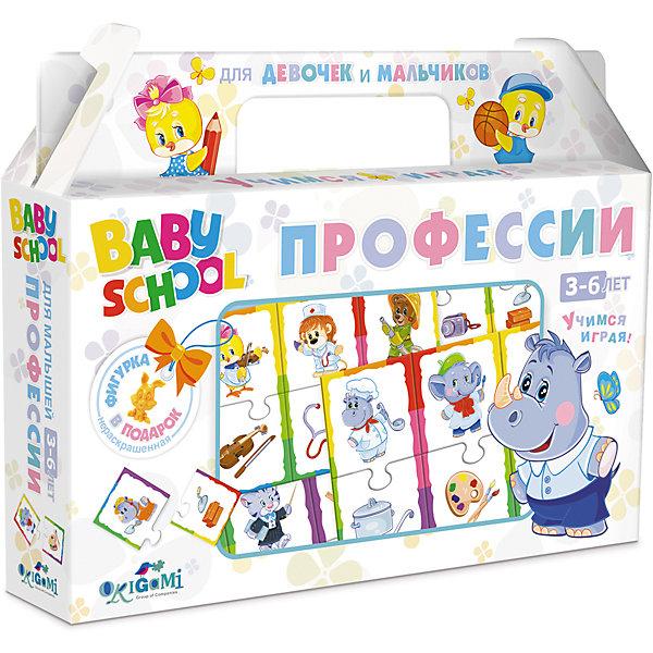 Обучающая игра Origami ПрофессииОзнакомление с окружающим миром<br>Характеристики товара:<br><br>• возраст: от 3 лет;<br>• пол: для мальчиков и девочек;<br>• комплект: 24 карточки; <br>• из чего сделана игрушка (состав): картон, бумага;<br>• количество предполагаемых игроков: 2-4;<br>• время игры: 15 минут;<br>• размер упаковки: 22х4х17,5 см.;<br>• упаковка: картонная коробка;<br>• страна обладатель бренда: Россия.<br><br>Настольная игра «Профессии» состоит из 24 карточек с изображенными на них представителями разных профессий и предметами, которыми эти люди пользуются при работе. <br><br>Карточки парные, изготовлены из плотного картона и соединяются друг с другом как пазл, образуя блоки из двух элементов. <br><br>Задача игры первым правильно составить все пары карточек.<br><br>Обучающую игру «Профессии» можно купить в нашем интернет-магазине.<br>Ширина мм: 220; Глубина мм: 40; Высота мм: 170; Вес г: 175; Возраст от месяцев: 36; Возраст до месяцев: 2147483647; Пол: Унисекс; Возраст: Детский; SKU: 7240719;
