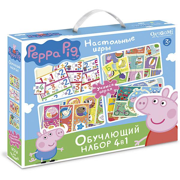 Обучающий набор 4 в 1 Origami Свинка Пеппа: Азбука, Считалочка, Времена года, ПряткиМатематика<br>Характеристики товара:<br><br>• возраст: от 3 лет;<br>• герой: Свинка Пеппа;<br>• пол: для мальчиков и девочек;<br>• комплект: 140 карточек;<br>• из чего сделана игрушка (состав): картон, бумага;<br>• размер упаковки: 28 х 6 х 24 см.;<br>• упаковка: картонная коробка;<br>• страна обладатель бренда: Россия.<br><br>Торговая марка Origami представляет набор настольных игр из серии Peppa Pig.<br><br>В комплект вошли 4 игры: Азбука, Считалочка, Времена года и Прятки. <br><br>Развивающие игры очень важны для маленьких детей, поэтому производитель постарался изготовить карточки, которые являются содержанием набора, довольно качественными. <br><br>Благодаря комплекту, ребенок в игровой форме будет узнавать много нового и интересного.<br><br>Обучающий набор Свинка Пеппа: Азбука, Считалочка, Времена года, Прятки можно купить в нашем интернет-магазине.<br>Ширина мм: 280; Глубина мм: 60; Высота мм: 230; Вес г: 530; Возраст от месяцев: 36; Возраст до месяцев: 2147483647; Пол: Унисекс; Возраст: Детский; SKU: 7240756;