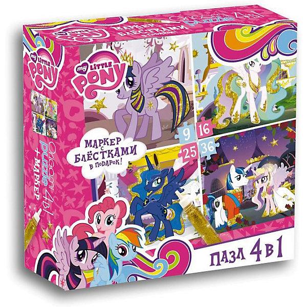 Пони.Пазл.Набор.4в1.9-16-25-36Эл.+маркер с блестками.Золотые пони.02105My little Pony<br>Характеристики товара:<br><br>• возраст: от 3 лет; <br>• пол: для девочек;<br>• размер упаковки: 18x5x18 см.;<br>• вес: 165 гр.;<br>• количество элементов: 9, 16, 25, 36 шт.;<br>• размер собранной картинки: 15х15 см.;<br>• комплект: 4 пазла;<br>• из чего сделана игрушка (состав): бумага, картон;<br>• упаковка: картонная коробка;<br>• страна обладатель бренда: Россия.<br><br>Набор представляет собой пазл 4 в 1 на 9, 16, 25, 36 элемента с маленькими пони.<br><br>В процессе игры необходимо собрать красочные картинки с героями мультфильма мой маленикий пони. В наборе маркер с блестками. Собрав картинку, ребенок сможет ее раскрасить.<br><br>Игра с пазлами развивает мелкую моторику рук, внимательность и аккуратность. <br><br>Правила игры: вскрыть упаковку и собрать игру по картинке.<br><br>Пазл можно купить в нашем интернет-магазине.<br>Ширина мм: 180; Глубина мм: 50; Высота мм: 180; Вес г: 165; Возраст от месяцев: 36; Возраст до месяцев: 2147483647; Пол: Унисекс; Возраст: Детский; SKU: 7240758;
