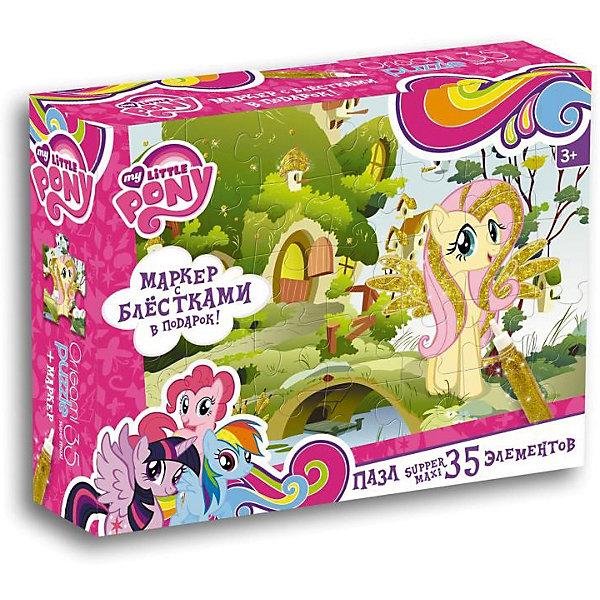Пони.Пазл.35 гиг.+маркер с блестками.Садик Флаттершай.02107My little Pony<br>Характеристики товара:<br><br>• возраст: от 3 лет; <br>• пол: для девочек;<br>• герой: мои маленикие пони;<br>• размер упаковки: 23x5x18 см.;<br>• вес: 250 гр.;<br>• размер собранного пала: 47х33 см.;<br>• количество деталей: 35 шт.;<br>• комплект: элементы пазла, маркер с блестками;<br>• из чего сделана игрушка (состав): картон, бумага, пластик, краситель;<br>• упаковка: картонная коробка;<br>• страна обладатель бренда: Россия.<br><br>Макси-пазл мои маленькие пони «Флаттершай» собирается в красочную картинку с изображением одной из главных героинь мультсериала «Дружба — это чудо». <br><br>Элементы головоломки крупные и прочные, поэтому с ними удобно обращаться даже малышам. <br><br>В комплекте также находится маркер с блестками, который пригодится для украшения гривы и крылышек застенчивой пони.<br><br>Пазл можно купить в нашем интернет-магазине.<br>Ширина мм: 230; Глубина мм: 50; Высота мм: 180; Вес г: 250; Возраст от месяцев: 36; Возраст до месяцев: 2147483647; Пол: Унисекс; Возраст: Детский; SKU: 7240760;