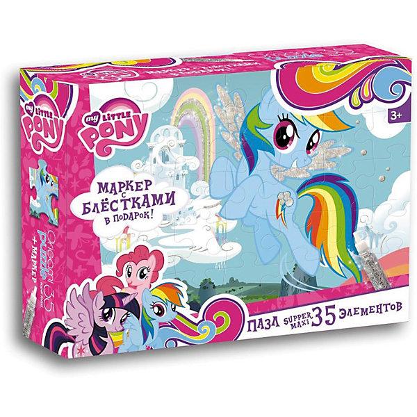 Пони.Пазл.35 гиг.+маркер с блестками.Облачный замок Радуги.02110My little Pony<br>Характеристики товара:<br><br>• возраст: от 3 лет;<br>• пол: для девочек;<br>• герой: мои маленикие пони;<br>• размер упаковки: 23x5x18 см.;<br>• вес: 250 гр.;<br>• размер собранного пала: 47х33 см.;<br>• количество деталей: 35 шт.;<br>• комплект: элементы пазла, маркер с блестками;<br>• из чего сделана игрушка (состав): картон, бумага, пластик, краситель;<br>• упаковка: картонная коробка;<br>• страна обладатель бренда: Россия.<br><br>Пазл Супер-макси из 35 элементов это прекрасный подарок для маленькой принцессы.<br><br>Элементы головоломки крупные и прочные, поэтому с ними удобно обращаться даже малышам. <br><br>В комплекте также находится маркер с блестками, который пригодится для украшения гривы и крылышек застенчивой пони.<br><br>Пазл можно купить в нашем интернет-магазине.<br>Ширина мм: 230; Глубина мм: 50; Высота мм: 180; Вес г: 250; Возраст от месяцев: 36; Возраст до месяцев: 2147483647; Пол: Унисекс; Возраст: Детский; SKU: 7240762;