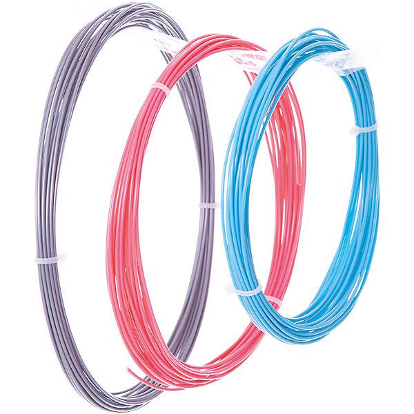 Esun Комплект ABS-пластика ESUN 1.75 мм, (голубой, розовый, серебряный) abs 1 75 3d 395m