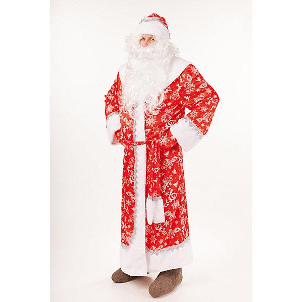Купить Карнавальный костюм Дед Мороз Морозко (шуба, шапка, борода, варежки, мешок, пояс) размер 182-54-56, Пуговка, Россия, Мужской