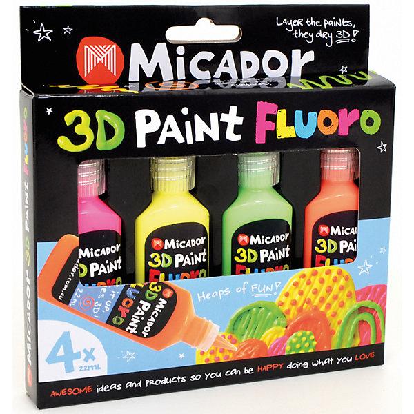 Micador Флюоресцентные 3D-краски, 4 шт, Micador micador фиолетовый