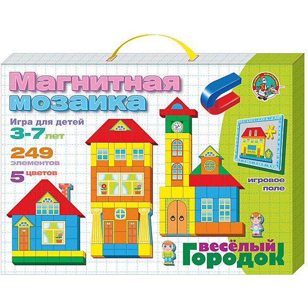 Мозаика магнитная Веселый городок 249 элМозаика<br>Характеристики:<br><br>• возраст: 5+;<br>• материал: картон, магнит;<br>• размер упаковки: 36,4x26,3x3,4 см;<br>• масса: 570 г.<br><br>Из этого набора можно собрать большое количество веселых разноцветных и симпатичных домиков. А 29 дополнительных элементов хорошо дополняют и украшают веселый городской пейзаж.<br><br>В комплект входят:<br>• элементы различной формы, включая дополнительные 29 элементов, на магнитной основе (249 шт);<br>• магнитная доска (31х20,5 см с разметкой поля).<br><br>Игровое металлическое поле разделено на клетки, что значительно облегчает собирание картинок. Дети могут собирать изображения, которые прилагаются к игре или пофантазировать сами. <br><br>Магнитная мозаика-конструктор хорошо развивает координацию движений, мелкую моторику рук, творческие способности и воображение.<br><br>Мозаика магнитная «Веселый городок», 249 элементов, «Десятое королевство» можно купить в нашем интернет-магазине.<br>Ширина мм: 364; Глубина мм: 263; Высота мм: 34; Вес г: 570; Возраст от месяцев: 684; Возраст до месяцев: 2147483647; Пол: Унисекс; Возраст: Детский; SKU: 7245667;