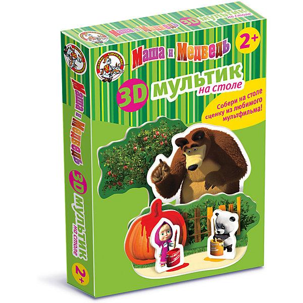 Мультик на столе 3D Маша и Медведь /Краски (мягк.)Обучающие игры для дошкольников<br>Собрать 3Д пазл из нескольких фрагментов под силу малышам от 3-х лет, хоть занятие и продолжительное, но очень захватывающее, так как конечным результатом станут настоящие герои из любимого сериала. Дети обучаются, играя в созданные своими руками, героями, они неосознанно копируют поведение Маши и Медведя. Взрослые тоже с удовольствием погрузятся в приятные детские воспоминания, демонстрируя спектакль на столе с волшебными пазлами 3Д. Как и обычные пазлы, наша игра развивает воображение, воспитывает усидчивость, формирует пространственное воображение и хорошо разрабатывает мелкую моторику.<br>Ширина мм: 275; Глубина мм: 200; Высота мм: 40; Вес г: 180; Возраст от месяцев: 684; Возраст до месяцев: 2147483647; Пол: Унисекс; Возраст: Детский; SKU: 7245695;