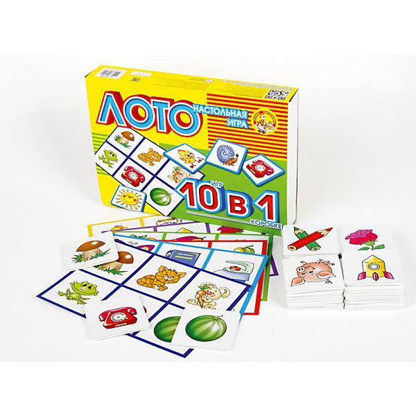 Лото 10 в 1 (мягк.)Обучающие игры<br>Классическое детское лото для самых маленьких с подробным описанием десяти вариантов того, как в него играть (смотрите обратную сторону коробки). Фишки в данном наборе крупные, толстые, с «подкладкой» из вспененного полимера, кстати, совершенно безопасного материала. <br>Лото «Десять в одном» артикул 01740 очень похоже на лото «10 в 1» артикул 00002, но стоит практически в два раза меньше. <br>Из-за чего? За счет чего цена уменьшилась вдвое? <br>Первое – в лото не входит полотняный мешок. По большому счету, для самых маленьких он особо и не нужен, его используют в игре с ребятами постарше. <br>Второе, самое главное – при замене пластиковых фишек на фишки из вспененного полимера из технологической цепочки ушло большое количество ручного труда («обклейка»). Все это привело к снижению себестоимости, а, следовательно, и отпускной цены, такой вот «антикризисный» вариант.<br>И еще раз о самой игре. Картинки в данном лото – это изображения предметов и животных, с которыми знакомы даже самые маленькие игроки. Если ваш малыш не знает большинства из них, то скорее всего ему рановато играть в любое лото, а если не знает некоторые – это не беда, выучите «по ходу пьесы».<br>Ширина мм: 280; Глубина мм: 195; Высота мм: 45; Вес г: 180; Возраст от месяцев: 684; Возраст до месяцев: 2147483647; Пол: Унисекс; Возраст: Детский; SKU: 7245710;