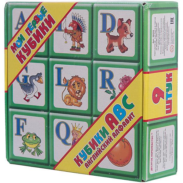 Десятое королевство Выдувка. Кубики АВС Английский алфавит 9 эл + карточки (8см)