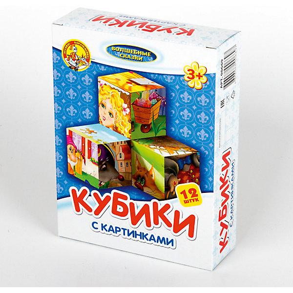 Кубики с картинками Волшебные сказки (без обклейки) 12 штОбучающие игры<br>Картинки на пластмассовых кубиках «Волшебные сказки»,нанесены методом прямой печати. <br>Размер кубиков - 4 см <br>Количество кубиков - 12 шт <br>Количество собираемых картинок - 6<br>Предназначены для детей от 3-х лет<br>Ширина мм: 166; Глубина мм: 126; Высота мм: 42; Вес г: 210; Возраст от месяцев: 420; Возраст до месяцев: 2147483647; Пол: Унисекс; Возраст: Детский; SKU: 7245783;