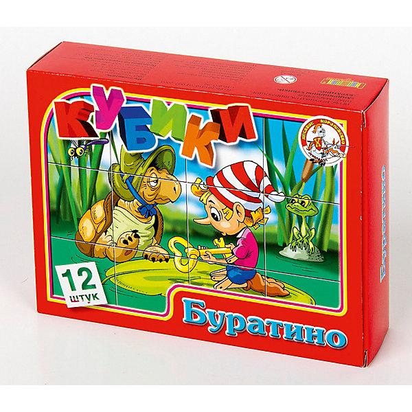 Кубики Буратино (без обклейки) 12 штКубики<br>Набор «Буратино» состоит из 12 пластмассовых кубиков картинок размером 4 см.<br>Собрать шесть красочных картинок по мотивам сказки Алексея Толстого «Буратино» из двеннадцати кубиков вполне по силам любому ребенку в возрасте от трех лет. Особенно, если он ранее уже собирал картинки из 4, 6 или 9 кубиков.<br>В результате игровой деятельности малыш прекрасно развивает внимание, память, речь, воображение, расширяет кругозор и словарный запас.<br>Картинки в наборе пластмассовых кубиков «Буратино» выполнены по технологии прямой печати (без обклейки), поэтому изображения на кубиках более долговечные, меньше подвержены абразивному износу и еще долго будут радовать малыша сочными и яркими красками.<br>Ширина мм: 166; Глубина мм: 126; Высота мм: 42; Вес г: 180; Возраст от месяцев: 420; Возраст до месяцев: 2147483647; Пол: Унисекс; Возраст: Детский; SKU: 7245798;