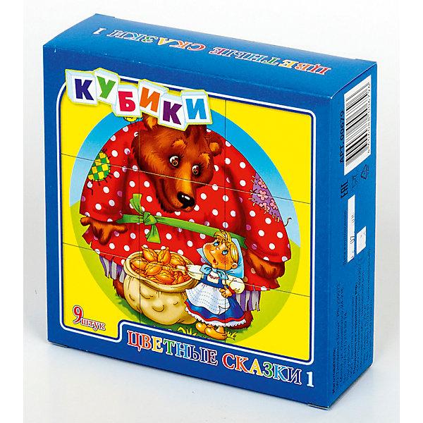 Кубики Цветные сказки-1 (без обклейки) 9 штОбучающие игры<br>Набор «Цветные сказки-1» состоит из 9 пластмассовых кубиков картинок размером 4 см.<br>Собрать красочные картинки по мотивам русских народных сказок - Три медведя, По щучьему велению, Колобок, Репка, Теремок и Маша и медведь из девяти кубиков вполне по силам любому ребенку в возрасте от трех лет. Особенно, если он ранее уже собирал картинки из 4 или 6 кубиков.<br>В результате игровой деятельности малыш прекрасно развивает внимание, память, речь, воображение, расширяет кругозор и словарный запас.<br>Картинки в наборе пластмассовых кубиков «Цветные сказки-1» выполнены по технологии прямой печати (без обклейки), поэтому изображения на кубиках более долговечные, меньше подвержены абразивному износу и еще долго будут радовать малыша сочными и яркими красками.<br>Ширина мм: 126; Глубина мм: 126; Высота мм: 42; Вес г: 140; Возраст от месяцев: 420; Возраст до месяцев: 2147483647; Пол: Унисекс; Возраст: Детский; SKU: 7245802;