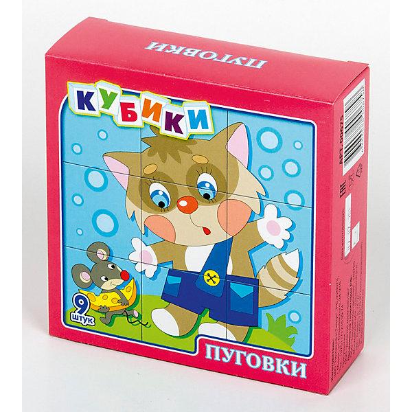 Кубики Пуговки 9 штОбучающие игры<br>В набор «Пуговки» входит 9 пластмассовых кубиков размером 4 см.<br>Собрать красочные картинки девочки, мальчика, петрушки, лисенка, котенка и мишки из девяти кубиков вполне по силам любому ребенку в возрасте от трех лет. Особенно, если он ранее уже собирал картинки из 4 или 6 кубиков.<br>В результате игровой деятельности малыш прекрасно развивает внимание, память, речь, воображение, расширяет кругозор и словарный запас.<br>Набор «Пуговки» выполнен по технологии прямой печати, поэтому изображения на кубиках более долговечные, меньше подвержены абразивному износу и еще долго будут радовать малыша сочными и яркими красками.<br>Ширина мм: 126; Глубина мм: 126; Высота мм: 42; Вес г: 140; Возраст от месяцев: 420; Возраст до месяцев: 2147483647; Пол: Унисекс; Возраст: Детский; SKU: 7245806;