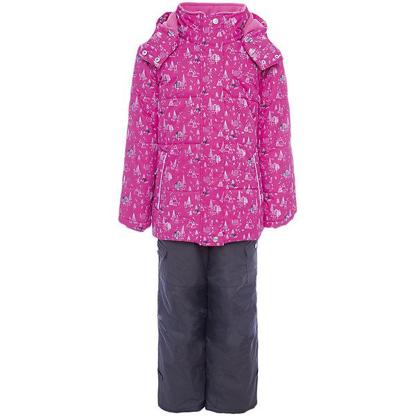 Комплект: куртка и полукомбинезон Gusti для девочкиВерхняя одежда<br>Комплект: куртка и полукомбинезон Gusti для девочки<br>Ткань верха куртки: Твил ( Twill )- мембрана с коэффициентом водонепроницаемости 5000 мм и коэффициентом паропроницаемости 5000 г/м2, одежда ветронепродуваемая. Благодаря тонкому полиуретановому напылению изнутри не промокает даже при сильной влаге, но при этом дышит (защита от влаги не препятствует циркуляции воздуха). Плотность ткани Т190 обеспечивает высокую износостойкость. Утеплитель: Тек-Полифилл (Tech-Polyfil) - 280г/м2, силиконизированый полиэстер изготовленный по новейшим технологиям,  удерживает тепло при температуре до -30 С. Очень мягкий , создающий объем для сохранения тепла, более плотный на груди и спине (280г/м2) и менее плотный на рукавах (170г/м2). Высокоэффективный, обладающий повышенной устойчивостью к сжатию (после стирки в стиральной машине изделие достаточно встряхнуть), обеспечивающий хорошую вентиляцию, обладающий прекрасным, теплоизолирующими свойствами синтетический материал. Главные преимущества Тек-Полифила – одежда более  пушистая на ощупь и менее тяжелое по весу. Подкладка: Высокотехнологичный флис COOLQUICK. Специальное кручение нитей позволяет ткани максимально впитывать влагу и увеличивать испаряемость с поверхности, т.е. выпустить пар, но не пропускает влагу снаружи, что обеспечивает комфорт даже при высоких физических нагрузках. Этот материал ранее был разработан специально для спортсменов, которые испытывали сильные нагрузки во время активного движения, а теперь принес комфорт и тепло в нашу повседневную жизнь.  Это особенно важно для детей, когда они гуляют на свежем воздухе, чтобы тело всегда оставалось сухим и теплым. Ткань верха полукомбинезона: Таслан ( Taslan )- мембрана с коэффициентом водонепроницаемости 5000 мм и коэффициентом паропроницаемости 5000 г/м2, одежда ветронепродуваемая. Благодаря тонкому полиуретановому напылению изнутри не промокает даже при сильной влаге, но при этом дышит (защита от в