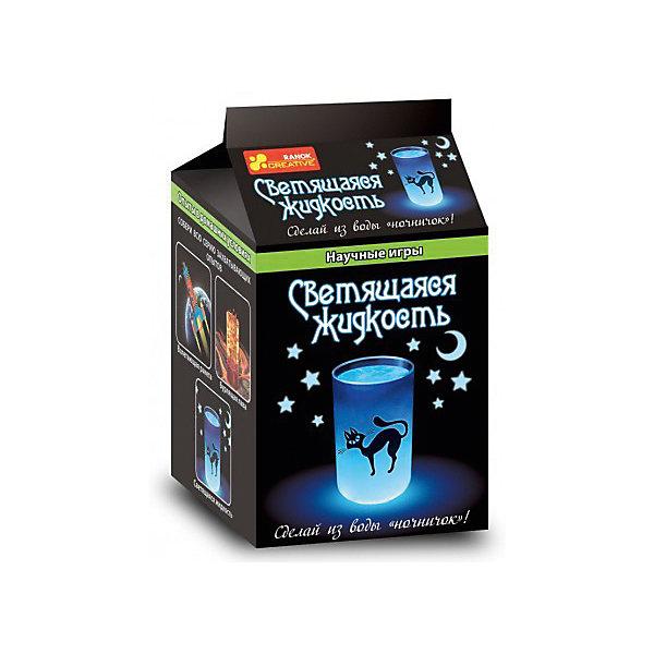 Научные игры «Светящаяся  жидкость»Химия и физика<br>Характеристики товара:<br><br>• возраст: от 8 лет;<br>• материал: реактивы, пластик, полимер;<br>• размер упаковки: 20х11,5х11,5 см.;<br>• упаковка: картонная коробка;<br>• вес в упаковке: 220 гр.;<br>• бренд, страна: Ranok Creative, Украина.<br><br>Набор для опытов «Светящаяся  жидкость» от бренда Ranok Creative - представляет собой необычный комплект химических реактивов, с помощью которых можно из простой воды сделать светящуюся жидкость. <br><br>Ребенку будет интересно и увлекательно заниматься с этим набором, он может сделать прикольный ночник и удивить всех своим экспериментом.<br><br>Рекомендуемый возраст: от 8 лет, под наблюдением взрослых.<br><br>Набор для опытов «Светящаяся  жидкость», Ranok Creative можно купить в нашем интернет-магазине.<br>Ширина мм: 115; Глубина мм: 115; Высота мм: 200; Вес г: 220; Возраст от месяцев: 96; Возраст до месяцев: 192; Пол: Унисекс; Возраст: Детский; SKU: 7252946;
