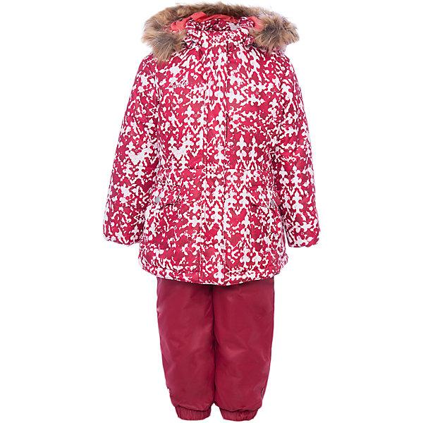 Комплект Luhta: куртка и полукомбинезонВерхняя одежда<br>Характеристики товара:<br><br>• комплектация: куртка и полукомбинезон <br>• состав ткани: 100% полиэстер<br>• подкладка: 100% полиэстер<br>• утеплитель: 100% полиэстер<br>• сезон: зима<br>• температурный режим: от -20 до +5<br>• особенности модели: с капюшоном<br>• плотность утеплителя: 250/160 г/м2<br>• капюшон: с мехом, съемный<br>• застежка: молния<br>• штрипки: отстегиваются<br>• страна бренда: Финляндия<br>• страна изготовитель: Китай<br><br>Детский комплект для зимы от известного финского бренда Luhta - это куртка и полукомбинезон. Комплект для девочки дополнен съемными штрипками и капюшоном. Удобный теплый комплект для ребенка позволит наслаждаться зимой, не боясь замерзнуть.