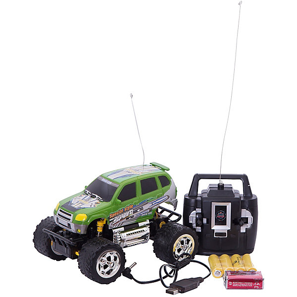 Пламенный мотор Радиоуправляемая машинка Пламенный мотор Джип ПМ-030, зеленый машинка на радиоуправлении пламенный мотор внедорожник пм 040 пластик металл от 3 лет зелёный 870258