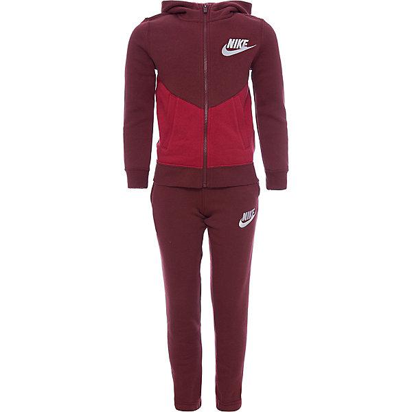 Костюм NIKEСпортивная одежда<br>Характеристики товара:<br><br>• цвет: красный<br>• комплектация: курточка, брюки<br>• состав ткани: 80% хлопок, 20% полиэстер - флис с начесом<br>• сезон: демисезон<br>• особенности модели: спортивный стиль<br>• длинные рукава<br>• застежка: молния<br>• пояс: резинка и шнурок<br>• капюшон: несъемный<br>• страна бренда: США<br>• страна изготовитель: Малайзия<br><br>Флисовый спортивный костюм Nike - комфортная и качественная одежда для отдыха и занятий спортом. Курточка из спортивного комплекта для детей дополнена капюшоном и карманами. Удобный детский спортивный костюм от известного мирового бренда Nike разработан с учетом последних веяний в моде. Спортивный костюм Найк не стесняет движения ребенка. <br><br>Спортивный костюм Nike (Найк) можно купить в нашем интернет-магазине.<br>Ширина мм: 247; Глубина мм: 16; Высота мм: 140; Вес г: 225; Цвет: красный; Возраст от месяцев: 84; Возраст до месяцев: 96; Пол: Унисекс; Возраст: Детский; Размер: 122/128,158/170,146/158,134/140,128/134; SKU: 7265671;