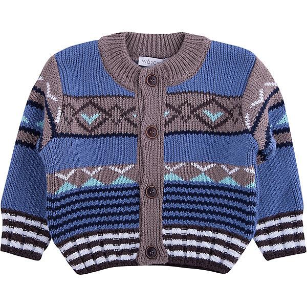 Свитер Wojcik для мальчикаСвитера и кардиганы<br>Характеристики товара:<br><br>• цвет: синий<br>• состав ткани: 50% хлопок, 50% акрил<br>• сезон: демисезон<br>• застежка: пуговицы<br>• длинные рукава<br>• страна бренда: Польша<br>• страна изготовитель: Польша<br><br>Стильный свитер для мальчика Войчик отличается модным кроем и актуальным в этом сезоне цветом. Детский свитер декорирован вязаным узором. Свитер для детей - удобная и стильная вещь. Польская детская одежда для детей от бренда Wojcik - это качественные и модные вещи. <br><br>Свитер Wojcik (Войчик) для мальчика можно купить в нашем интернет-магазине.<br>Ширина мм: 190; Глубина мм: 74; Высота мм: 229; Вес г: 236; Цвет: белый; Возраст от месяцев: 3; Возраст до месяцев: 6; Пол: Мужской; Возраст: Детский; Размер: 68,98,92,86,80; SKU: 7266618;