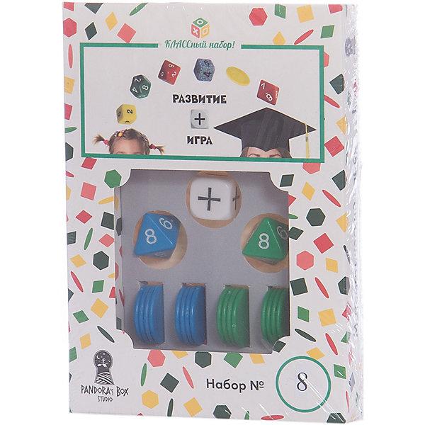 Настольная игра Pandoras Box Studio Математический набор №8Пособия для обучения счёту<br>Характеристики:<br><br>• дидактический материал на кубиках;<br>• создание примеров с помощью кубиков и фишек;<br>• обучение детей счету в пределах 16;<br>• математические операции сложение/вычитание;<br>• 2 цвета фишек;<br>• состав набора: 2 кубика с цифрами от 1 до 8, кубик операций +/-, 16 круглых фишек-счетчиков, правила игры;<br>• размер упаковки: 11х15х5,5 см;<br>• вес: 55 г.<br><br>Правила игры:<br><br>• с помощью кубиков генерируется пример;<br>• математическое действие определяется другим кубиком;<br>• раскладываются фишки;<br>• цвета фишек равно количеству граней кубика;<br>• на фишки одного цвета выкладываются фишки другого цвета;<br>• цвет фишек соответствует цвету кубиков. <br><br>В процессе изучения цифр ребенок учится решать простые примеры. Математические действия на сложение и вычитание представлены в пределах 16. Комплект набора Pandoras Box Studio позволяет наглядно объяснить ребенку, каким образом вычитаем и прибавляем числа. В игровой форме процесс обучения выглядит понятнее и интереснее. Взаимодействие детей и взрослых помогает им найти общий язык. <br><br>Математический набор №8 можно купить в нашем интернет-магазине.<br>Ширина мм: 25; Глубина мм: 110; Высота мм: 150; Вес г: 55; Возраст от месяцев: 84; Возраст до месяцев: 2147483647; Пол: Унисекс; Возраст: Детский; SKU: 7272141;