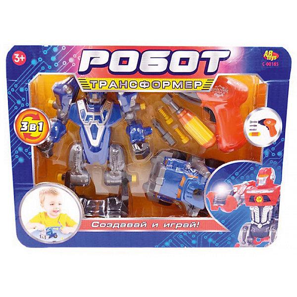 ABtoys Робот-трансформер 3 в 1 Abtoys Создавай и играй с инструментами, синий