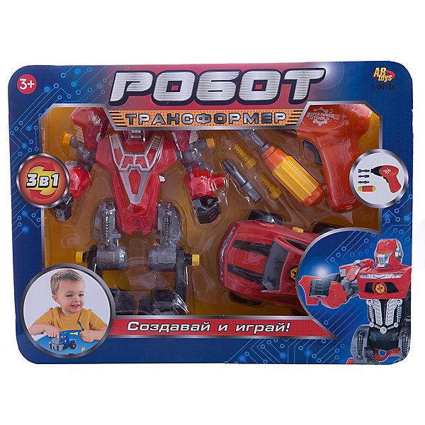 ABtoys Робот-трансформер 3 в 1 Abtoys Создавай и играй с инструментами, красный