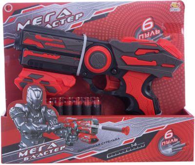 Мегабластер Abtoys с мягкими пулями, красный, артикул:7276545 - Игрушечное оружие