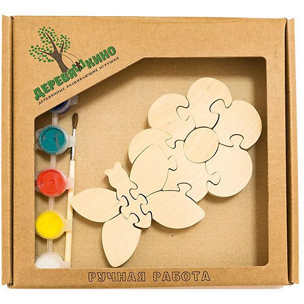 Развивающий пазл Цветок с бабочкойПазлы для малышей<br>Характеристики товара:<br><br>• возраст: от 3 лет; <br>• количество деталей: 11 шт.;<br>• материал: пластик, дерево, краски;<br>• комплект: элементы пазла, кисточка, краски 6 цветов;<br>• размер упаковки: 20х20х3 см.;<br>• упаковка: картонная коробка блистерного типа;<br>• cтрана обладатель бренда: Россия.<br><br>Цветок с бабочкой это интересная развивающая игрушка.<br><br>Игрушка собирается и разбирается по принципу пазла, что поможет ребенку в игровой форме развить внимание, логическое и образное мышление. <br><br>Собрав игрушку, ее можно раскрасить по своему усмотрению, использовав краски и кисточку из набора.<br><br>Элементы игрушки изготовлены из экологически чистой березовой древесины.<br><br>Развивающий пазл можно купить в нашем интернет-магазине.<br>Ширина мм: 30; Глубина мм: 200; Высота мм: 200; Вес г: 200; Возраст от месяцев: 36; Возраст до месяцев: 84; Пол: Унисекс; Возраст: Детский; SKU: 7276671;