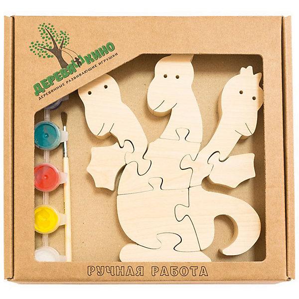 Развивающий пазл Змей ГорынычПазлы для малышей<br>Характеристики товара:<br><br>• возраст: от 3 лет;<br>• количество деталей: 11 шт.;<br>• материал: пластик, дерево, краски;<br>• комплект: элементы пазла, кисточка, краски 6 цветов;<br>• размер упаковки: 20х20х3 см.;<br>• упаковка: картонная коробка блистерного типа;<br>• cтрана обладатель бренда: Россия.<br><br>Игрушка собирается и разбирается по принципу пазла, что поможет ребенку в игровой форме развить внимание, логическое и образное мышление. <br><br>Собрав игрушку змея горыныча, ее можно раскрасить по своему усмотрению, использовав краски и кисточку из набора.<br><br>Элементы игрушки изготовлены из экологически чистой березовой древесины.<br><br>Развивающий пазл можно купить в нашем интернет-магазине.<br>Ширина мм: 30; Глубина мм: 200; Высота мм: 200; Вес г: 200; Возраст от месяцев: 36; Возраст до месяцев: 84; Пол: Унисекс; Возраст: Детский; SKU: 7276675;