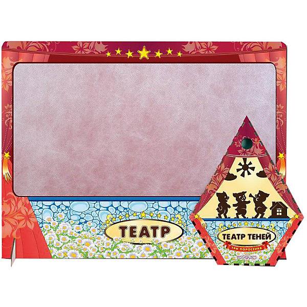 Театр теней Три поросенка цветной с ширмойКукольный театр<br>Характеристики товара:<br><br>• возраст: от 3 лет; <br>• комплект: ширма, фигурки;<br>• материал: фанера, магнитный винил;<br>• размер упаковки: 2х46х36 см.;<br>• упаковка: пленка;<br>• размер ширмы: 57х36х4,5 см.;<br>• толщина фанеры: 0,3 см.;<br>• страна обладатель бренда: Россия.<br><br>Настольная игра Театр теней  позволит детям создать из сказки Три поросенка захватывающее и увлекательное театральное представление. <br><br>В комплект данного набора входят деревянные фигурки из тонкой шлифованной фанеры с магнитным винилом и отверстием для пальца, а также специальная ширма. <br><br>Данный вид игрового времяпрепровождения поспособствует развитию творческих и организаторских способностей, а также артистических навыков, разговорной речи и памяти.<br><br>Театр теней три поросенка можно купить в нашем интернет-магазине.<br>Ширина мм: 50; Глубина мм: 460; Высота мм: 360; Вес г: 520; Возраст от месяцев: 36; Возраст до месяцев: 84; Пол: Унисекс; Возраст: Детский; SKU: 7276730;